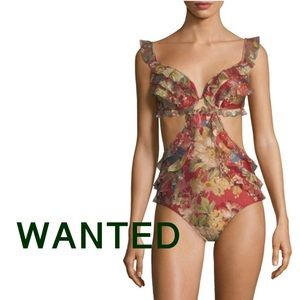 ISO: Zimmermann Melody Red Floral One Piece Swim